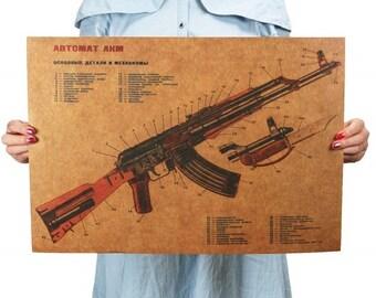 Framed Insides of an AK-47 Gun Anatomy 5 Piece Canvas Wall Art Home Decor