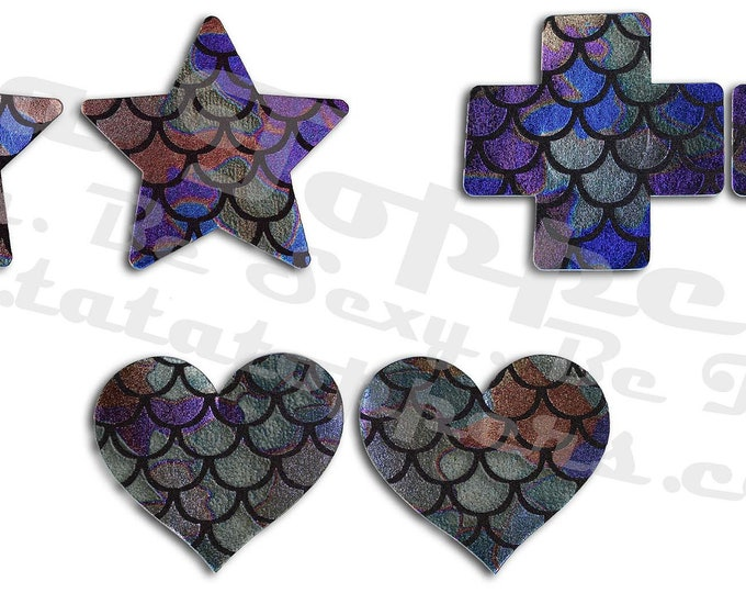 "Mermaid Scale Laser Nipple Pasties -Go topless, go sheer with no fear! Self adhesive pasties cover when topless/sheer and prevent ""nipping"""