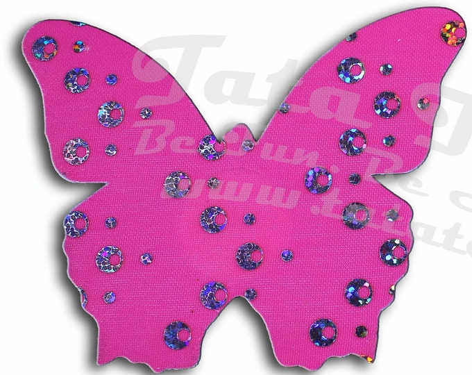 "Holographic Butterflies Nipple Pasties - Go topless, go sheer with no fear! Self adhesive pasties cover nipples and prevent ""nipping"""