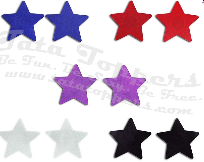 "Colorful Stars Nipple Pasties - Go topless, go sheer with no fear! Self adhesive pasties cover nipples when topless/sheer prevent ""nipping"""