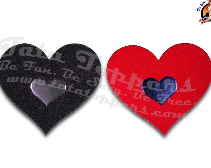 "Felt Heart Nipple Pasties - Go topless, go sheer with no fear! Self adhesive pasties cover nipples when topless/sheer and prevent ""nipping"""