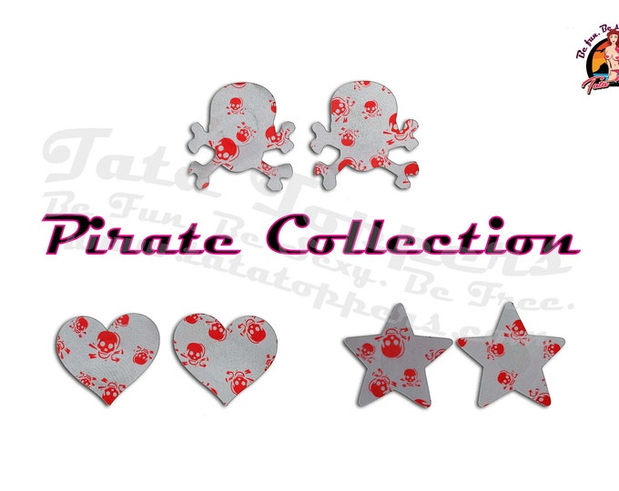 Pirate (Skull & Crossbones) Collection Nipple Pasties - Go topless, go sheer with no fear! Perfect for a day on the boat or at the pool!