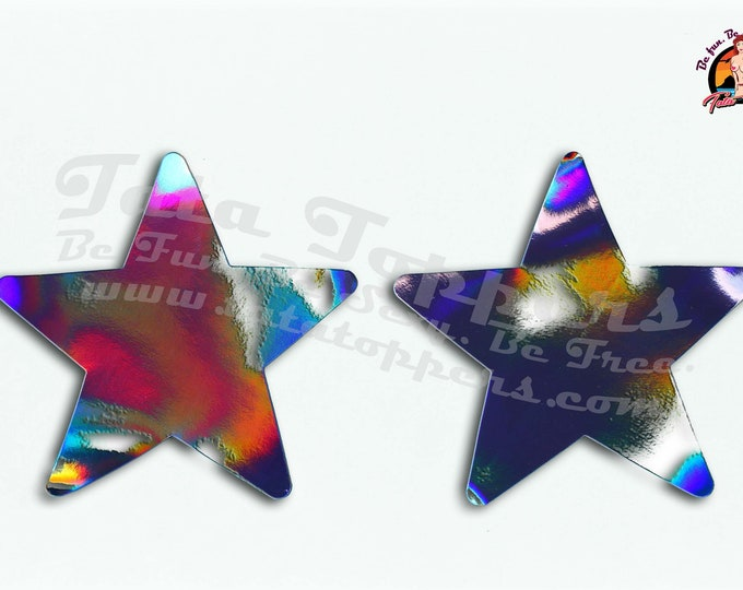 "Holographic Laser Nipple Pasties -Go topless, go sheer with no fear! Self adhesive pasties cover when topless/sheer and prevent ""nipping"""