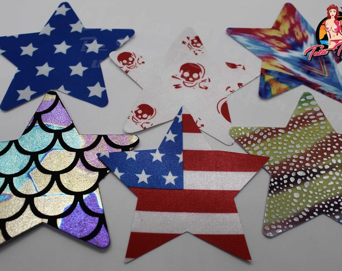 "Sexy Stars Nipple Pasties -Go topless, go sheer with no fear! Self adhesive pasties cover nipples when topless/sheer and prevent ""nipping"""