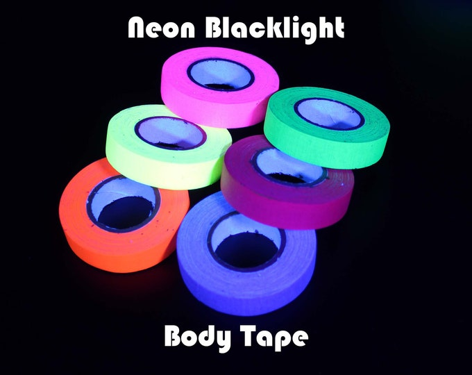 """Neon Black Light Body Tape for Rave Parties - Black Tape Project - 6/10"""" x 32' (15mm x 10M)"""