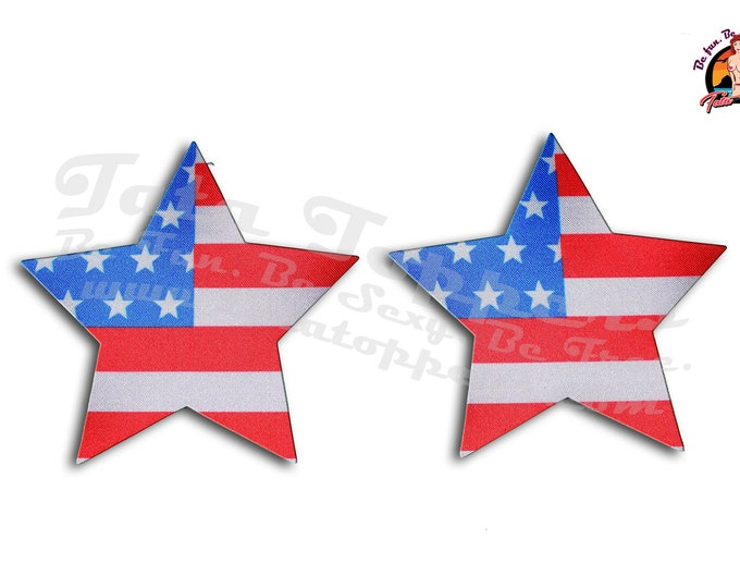 Patriotic, USA Flag, 4th of July Nipple Pasties -Go topless, go sheer with no fear! Self adhesive pasties cover nipples when topless/sheer