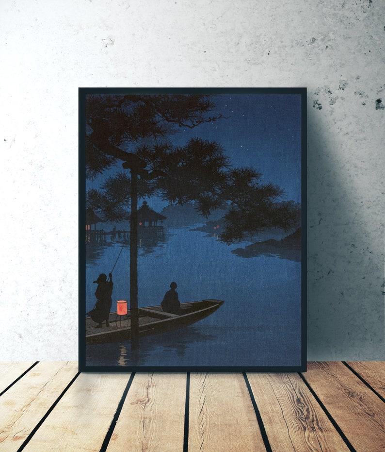 Japanese Art Print  Shubi Pine Starry Night   Wall Decor image 0