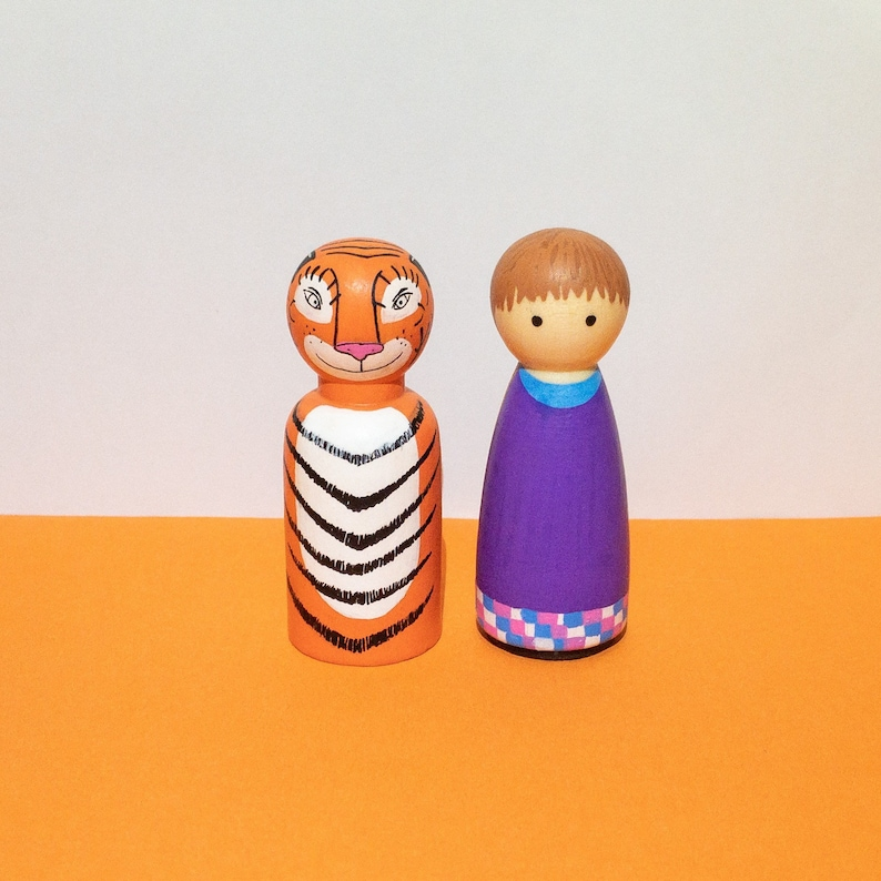 The Tiger Who Came to Tea Peg Dolls  Wooden Peg Dolls  Hand Painted Dolls