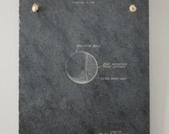 Billiards pool cueball patent print on genuine slate