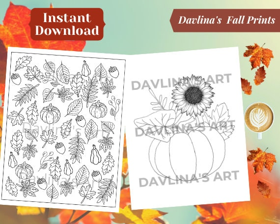 Fall Coloring Printable Pages  Set of 2  Hand drawn PDF and