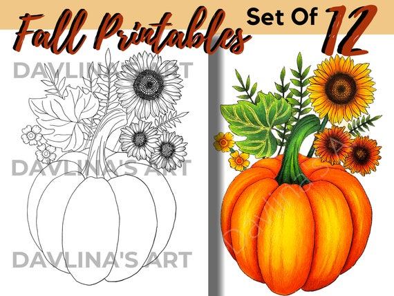 Set of 12  Fall Printable Coloring Pages for Adults and