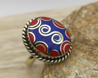 Nepal ring natural stone stone silver throat chakra ABT26 Tibetan couple ring dorje in lapis lazuli ethnic ring