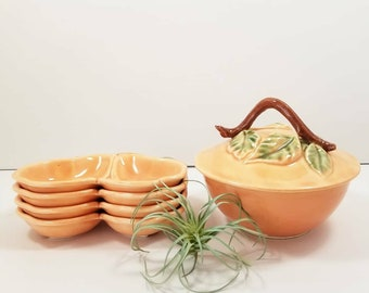 Belmar Pottery of California Pear Bowl and Trays