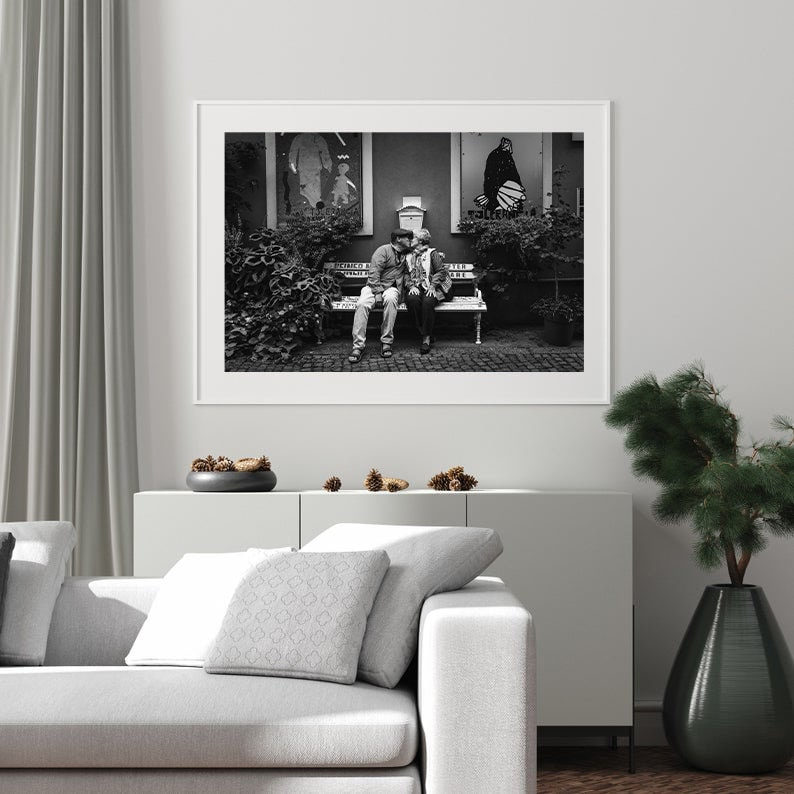 Portrait photo of a couple on a black and white bench deco art print wall decoration street photography