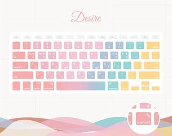 BTS MOTS:7 Korean English Keyboard Sticker Decals - Desire