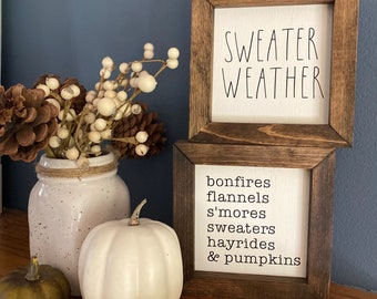 Mini fall signs Farmhouse Decor Fall Decor Pumpkin Custom Wood Sign Autumn Wood Sign Framed Fall Sign Sweater Weather Mini Sign