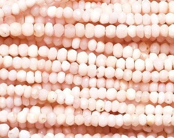 Peruvian Pink Opal Smooth Rondelles 4 Large Graduated Shaded Pink Semi Precious Gemstone