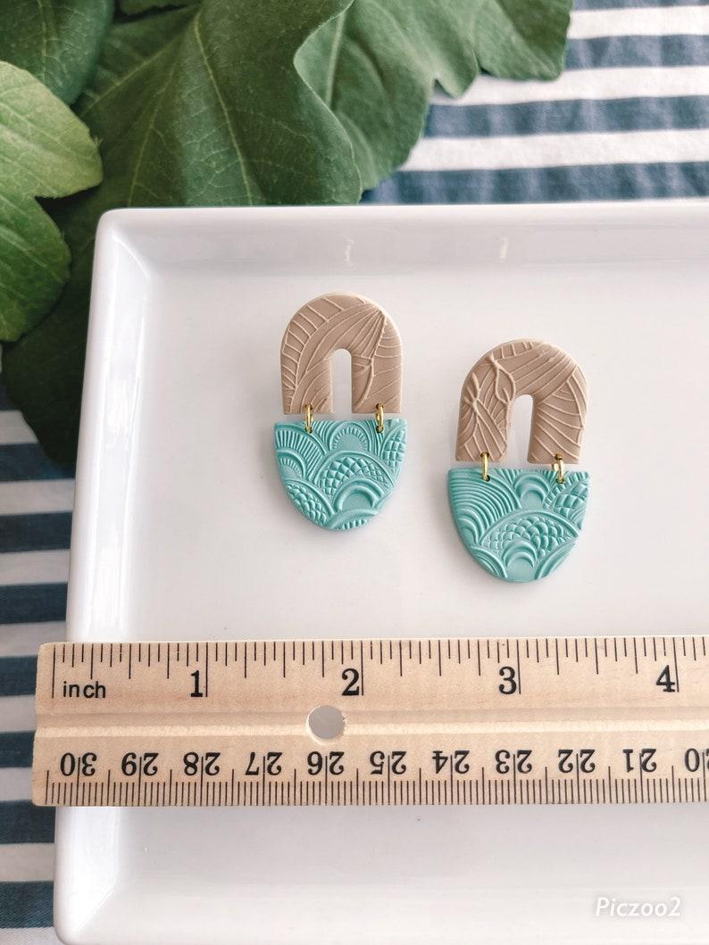 Polymer clay earringsHandmade earrings Colorful earringsGeometricDanglesAztecOrganicTexturedJA30