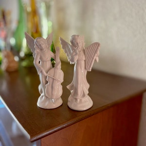Angel Lover Gift Collectible Ceramic Angel Statue Christmas Decor Religious Decor 9.5 White Porcelain Dresden Angel with Harp Figurine