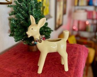 Deer Planter by Shawnee Pottery   Vintage Pottery   Christmas Planter   Vintage Holiday Decor   Vintage Christmas Decoration