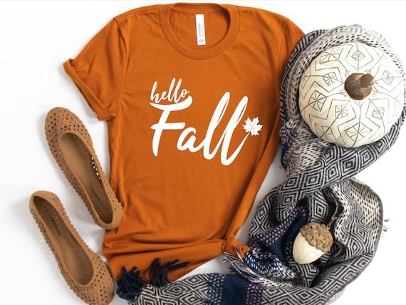 Fall Thanksgiving Shirt Tee Cute Hello October Halloween Unisex Women Ladies Unisex Gift for Her Autumn
