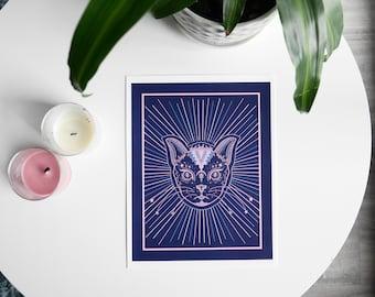 Magic Cat-Digital Print Art of Cat, Celestial Art.