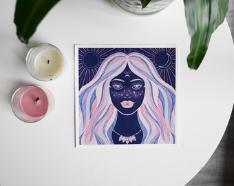 Girl-Digital illustration print of a girl with the moon and sun on the background, celestial art