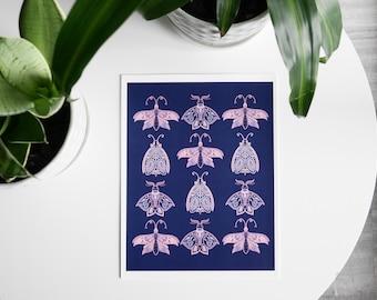 Moths-Illustration of moths with pink wings, celestial art, animal art, butterflies