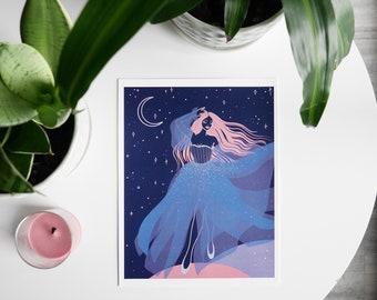 A Walk Among the Planets-Digital Illustration Print of a woman, celestial art, ethereal art