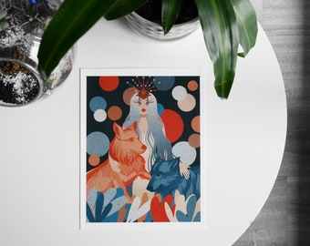 Queen of the Wolves-Digital Print Illustration of a woman with two wolves