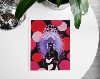 Queen - Illustration of a woman with a crown, digital illustration, celestial art