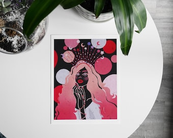 Moonstruck-Digital Illustration Print of a woman with a crown, celestial art.