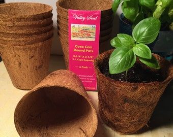 """Coir Pots BULK 24 or 48 + Free Seeds; 3 1/4"""" Round Pots; Ideal For Seed Starting, Biodegradable, Renewable, Performs Superior to Peat Moss"""