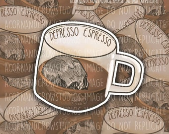 Depresso Espresso Skull Coffee Cup Mental Health Sticker , Depresso Espresso Sticker , Coffee Cup Sticker , Skull Coffee Sticker
