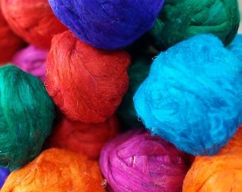2 oz. Recycled Sari silk Roving sliver, Wet felting, nuno felting, crocheting, knitting, spinning, weaving, textile art yarn