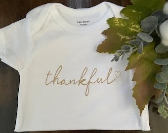 Thanksgiving ONESIE\u00ae Girl First Thanksgiving Onesie Fall Onesie Little Miss Thankful Shirt Newborn Thanksgiving Outfit Thanksgiving Baby