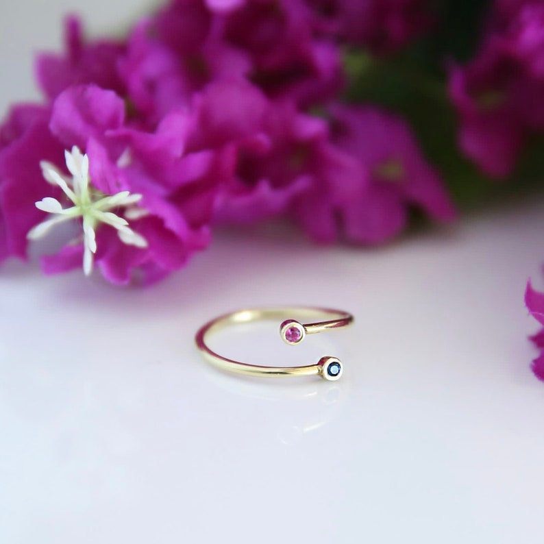 Personalized Birthstone Ring,Two Birthstone Ring,Dual Birthstone Ring,Mom Gift,Personalized Jewelry,Gift For Her,QW02