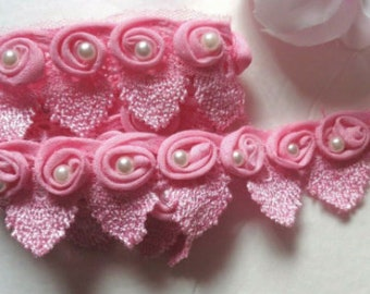 1 1/2 inch wide pink or white trim price per yard