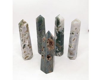 Moss Agate Druzy Crystal Points