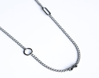 Stainless Steel Silver Alternative Layering Choker Necklace Grunge Modern Chain Aesthetic Vibe Trio Necklace