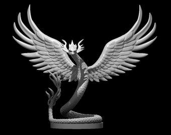 Quetzalcoatl Tabletop RPG Figurine - Couatl D&D Miniature - Couatl Pathfinder Miniature