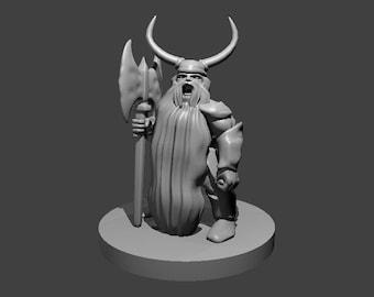 Dwarf Barbarian Miniature Figurines - Dungeons and Dragons Barbarian Mini - Pathfinder Barbarian Miniature - Tabletop RPG Figurine
