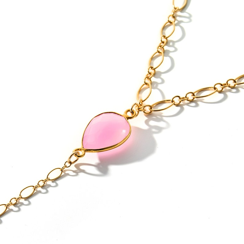 Unique Healing Stone Crystal Necklace featuring a moon charged chalcedony crystal pendant 14K Gold Crystal Pendant Necklace