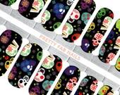 Dia De Los Muertos Sugar Skull Halloween Nail Wraps Made With Real Nail Polish