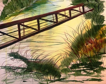 Watercolor Original Painting   RIVERWALK on the NEUSE in Clayton North Carolina by Catherine Ludwig Donleycott