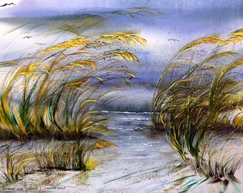 Outer Banks OBX Wild Sea Oats   Buy 2 Get 1 FREE   Art Notecards by Catherine Ludwig Donleycott