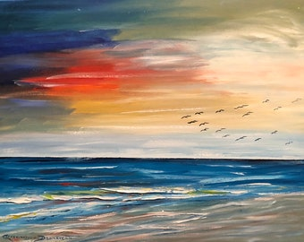 SUNSET on the BEACH Seascape   Oil Painting   Original Fine Artwork by Catherine Ludwig Donleycott