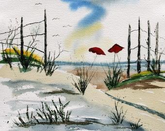 Red Beach Umbrellas   Buy 2 Get 1 FREE   Art Notecards Printed from Original Beach Watercolor Painting by Catherine Ludwig Donleycott