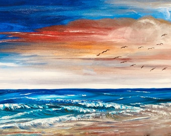 CUSTOM MADE Original Sunset Seascape   Commission an Oil Painting by Catherine Ludwig Donleycott