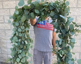Fresh Eucalyptus Garland // Natural Silver Dollar & Seeded Eucalyptus Combo Garland // Wedding Garland // Real Fresh Greenery Garland